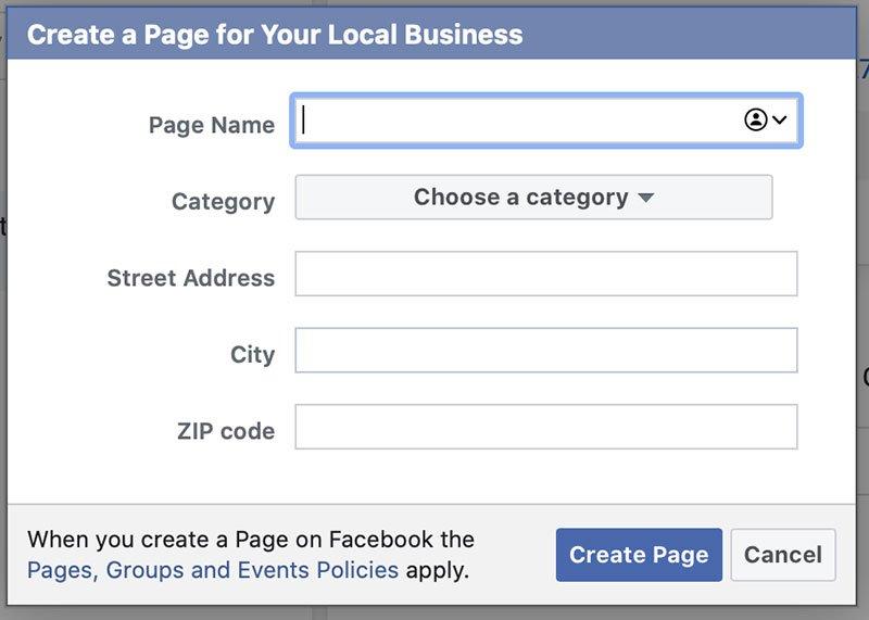 หน้าต่างสำหรับกรอกข้อมูลเพจใน Facebook Business Manager